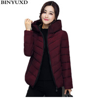 BINYUXD Winter Jacket Women Cotton Short Jacket Girls Padded Slim Hooded Warm Parkas Stand Collar Coat