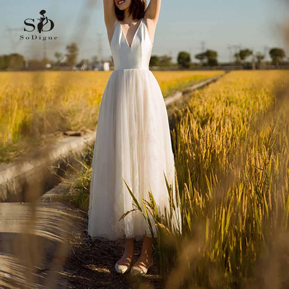 Short Wedding Dress 2018 Plus Size Ankle-length Simple Dresses V-Back Elegant Custom Made Bridal Gown Robe De Mariage