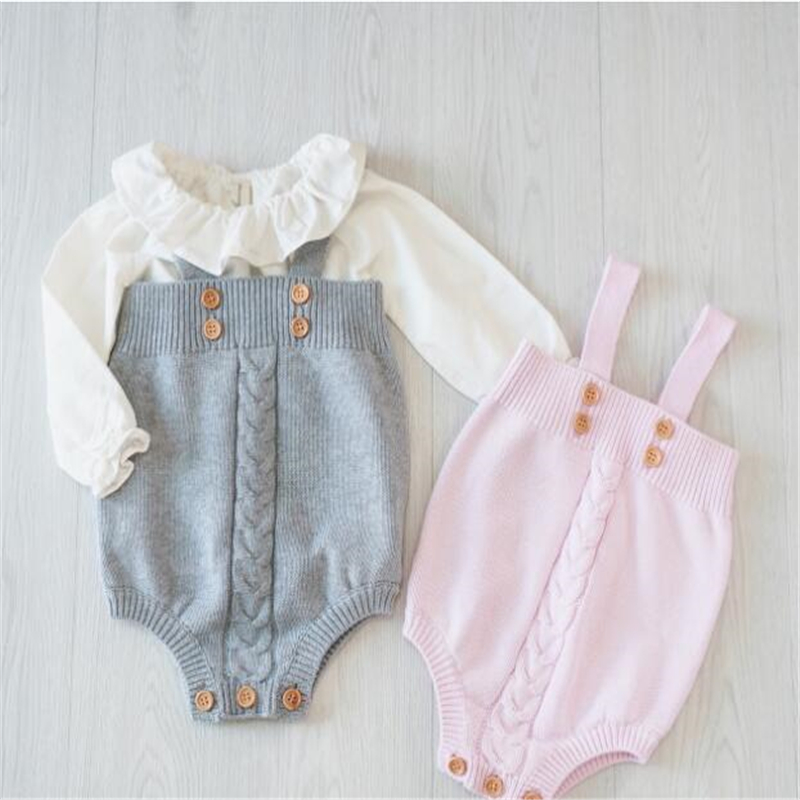 Knitted Baby Clothes Newborn Baby Clothes 100% Cotton Baby Girl Boys   Romper   Sleeveless Infantil Infant Baby Jumpsuit Overalls