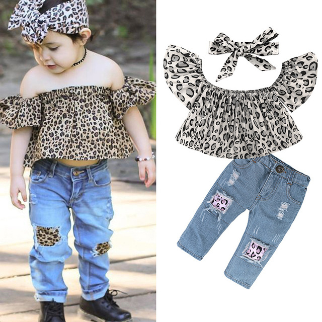 725f913a4 Baby Girl Clothing Sets Leopard Tops+Jeans Pants+Hairband Toddler Bebe  Clothes Suit For Summer Kids Fashion Designer Clothing