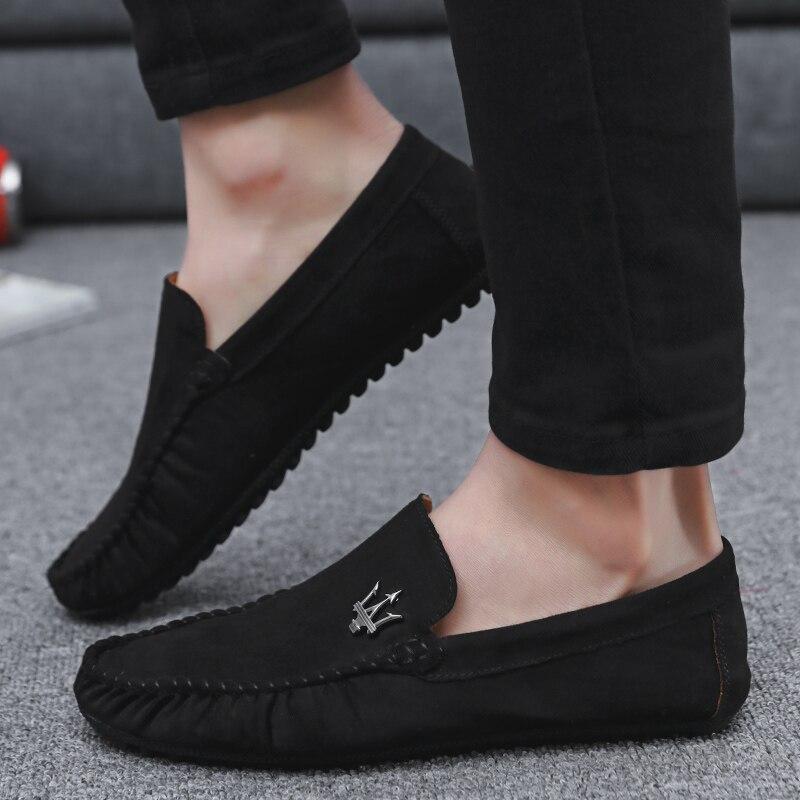 Daim Lumière Chaussures khaki gray Nouvelle 2018 Cuir Conduite Formelle Hommes En Mocassins Fond Black Yq01R1