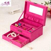 Navidad día regalo al por mayor y al por menor de alta calidad Diseño de Moda de terciopelo anillo rectangular caja de almacenamiento caja de joyas