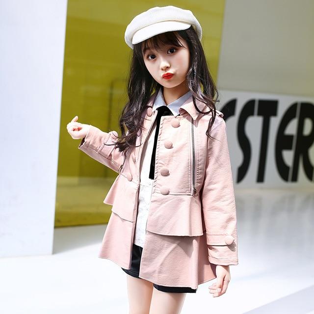 2017 осень, для женщин детские Куртки из искусственной кожи для девочек пальто Верхняя одежда Детская верхняя одежда повседневные платья пальто
