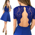 2017 Lace Rompers Openwork Stitching Collision Color Vestidos Siamese Culottes Summer Women Dress Casual Bow High Waist Dress