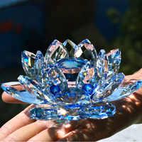 80mm Quarz Kristall Lotus Blume Handwerk Glas Briefbeschwerer Fengshui Ornamente Figuren Home Hochzeit Party Decor Geschenke Souvenir