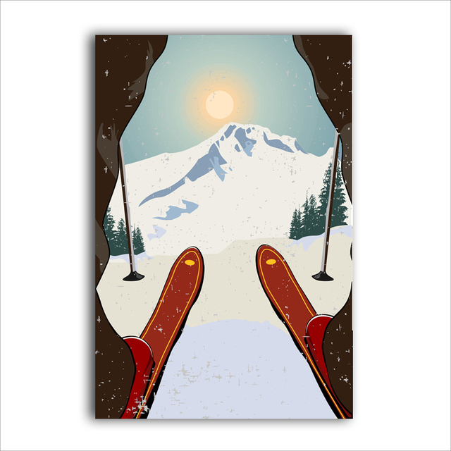 Sports Skiing Art Poster Canvas Painting Vintage Travel Ski In Snow Mountain Print Home