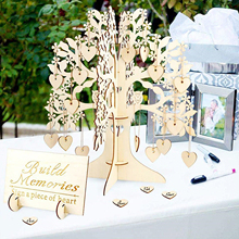 Rustic Wedding Guest Book Set Guest Visit Signature Tree Guest Book Wooden Hearts Ornaments DIY Family Tree Wedding Table Decor