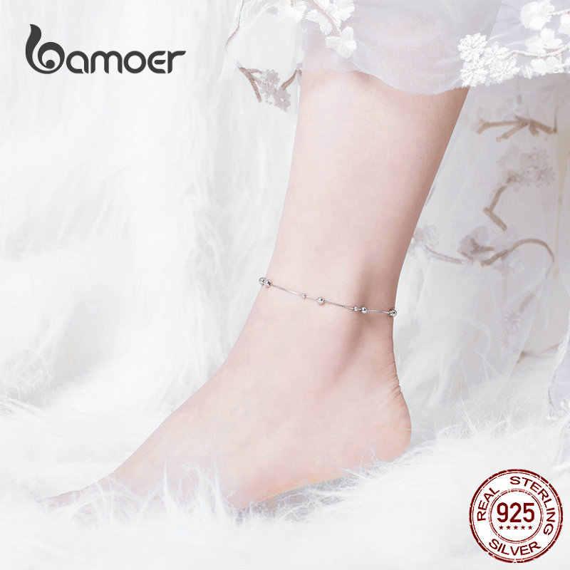 Bamoer Minimalist รอบสร้อยข้อเท้าเงินสเตอร์ลิง Chian สร้อยข้อมือสำหรับขาหญิงเครื่องประดับสำหรับผู้หญิงขา SCT005