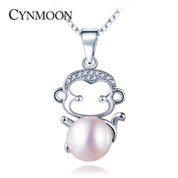 925 Sterling Silver Monkey Shaped Pearl Pendant Necklace For Women Wedding Birthday Party Gift Fresh