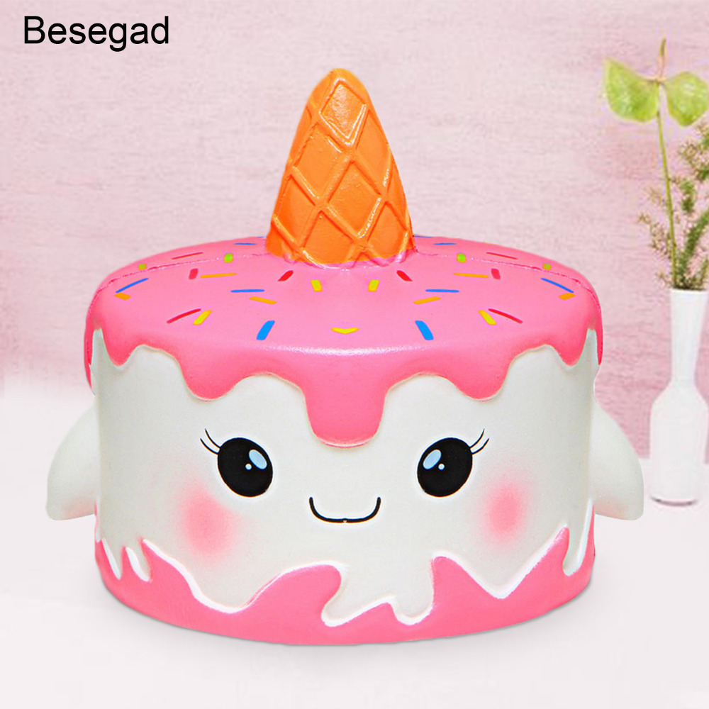 Kawaii Emoji Ice Cream Cup For Squishy Jumbo 10cm Slow Rising Squeeze Toy Scented Doll For Kids Fun Gift Cake Toy Keys Lanyard Punctual Timing Mobile Phone Straps