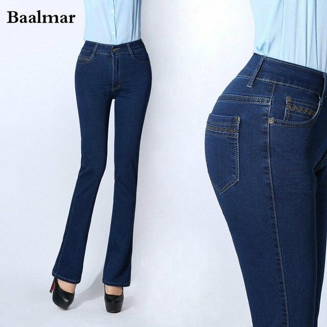jeans femme 2017 de mode de femmes jean droit taille haute bleu solide denim pantalon femelle. Black Bedroom Furniture Sets. Home Design Ideas