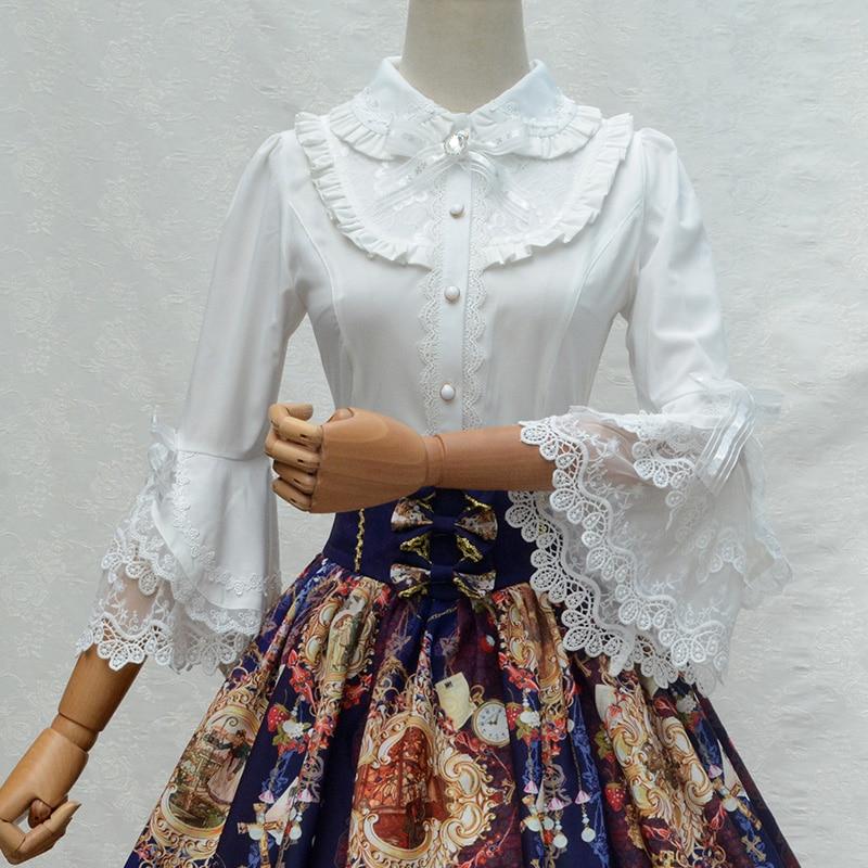 Classic white black women 39 s shirt tops vintage lolita for White cotton shirt peter pan collar