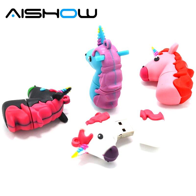 AISHOW Pendrive U disk white Unicorn usb flash drive real capacity cute horse pen drive 4G 8G 16G 32G 64GB 128GB flash memory