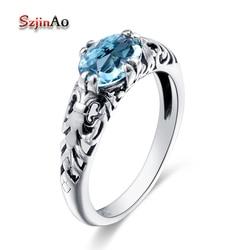 Szjinao Hot Sale Round Cut Party Finger Ring Sky Blue Stone Aquamarine Vintage 925 Sterling Silver Rings bijoux en argent