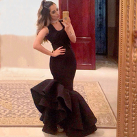 caftan marocaine 2017 Saudi Arabian Sexy Black Prom Mermaid Halter Neck Backless Tiereds Skirt Satin Fabric bridesmaid Dresses