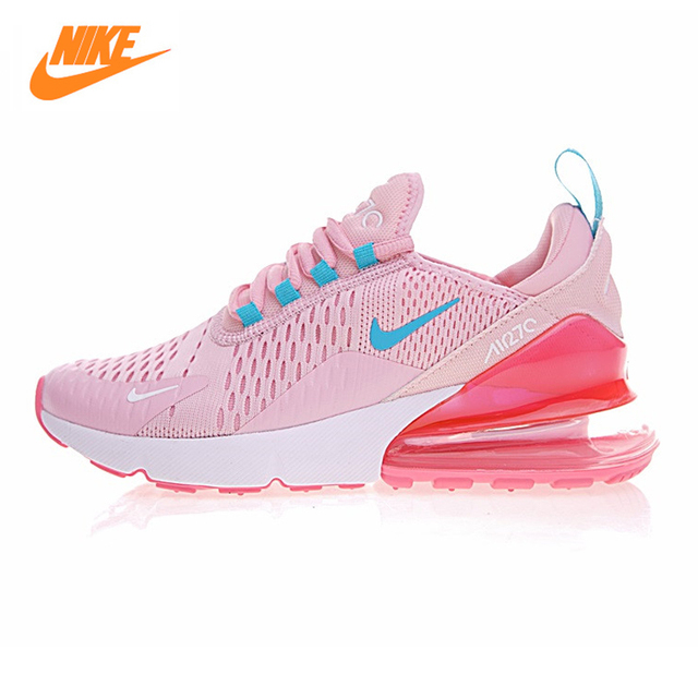 Nike AIR MAX 270 Men's Running Shoes, Yellow Pink, Shock Absorption Non-slip