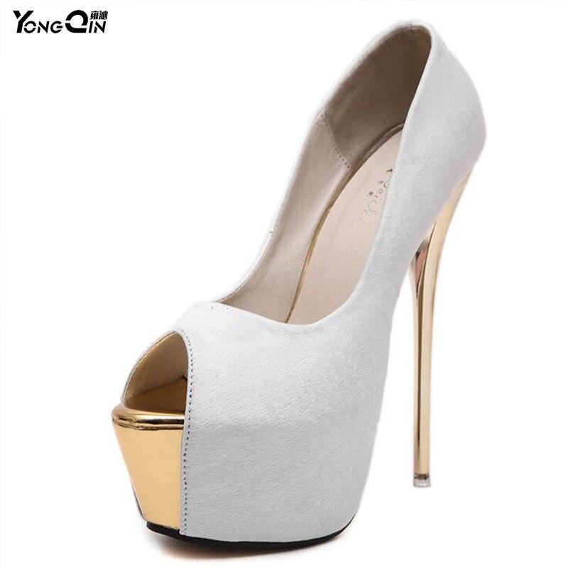 Nuevos zapatos moda de mujer Sexy plataforma moda zapatos 16 cm tacones altos 512bb4