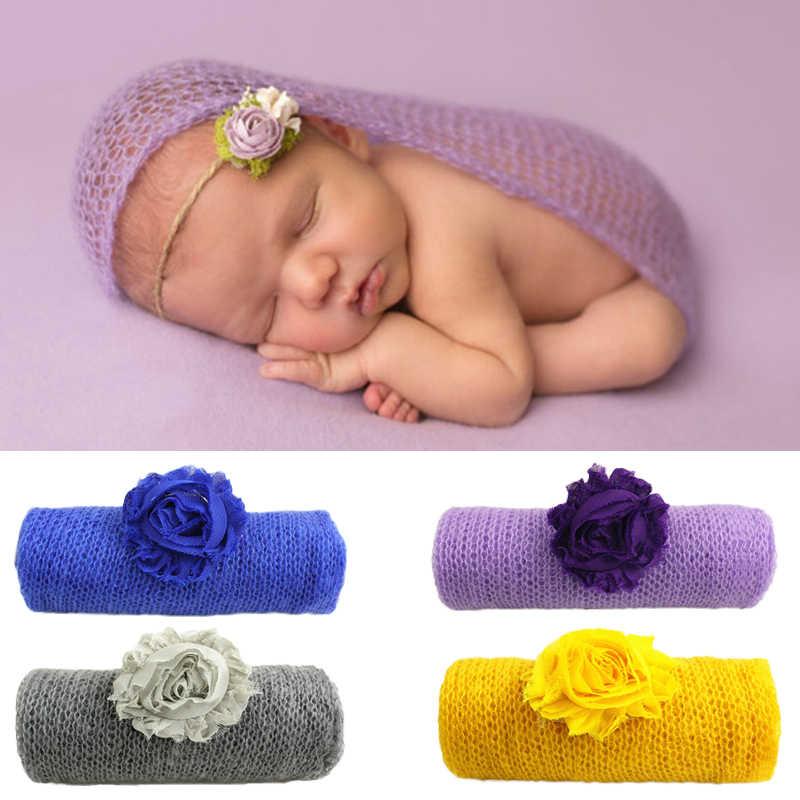 40*120cm moherowe rekwizyty fotograficzne dla dzieci noworodka zdjęcie okłady z pałąkiem na głowę niemowlę Bebe Handmade szalik pieluszki akcesoria
