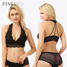 089a3d6efff Plus Size Lace Bralette Hollow Out Wire Free Bra Deep V Red Transparent  Backless Lingerie Paded