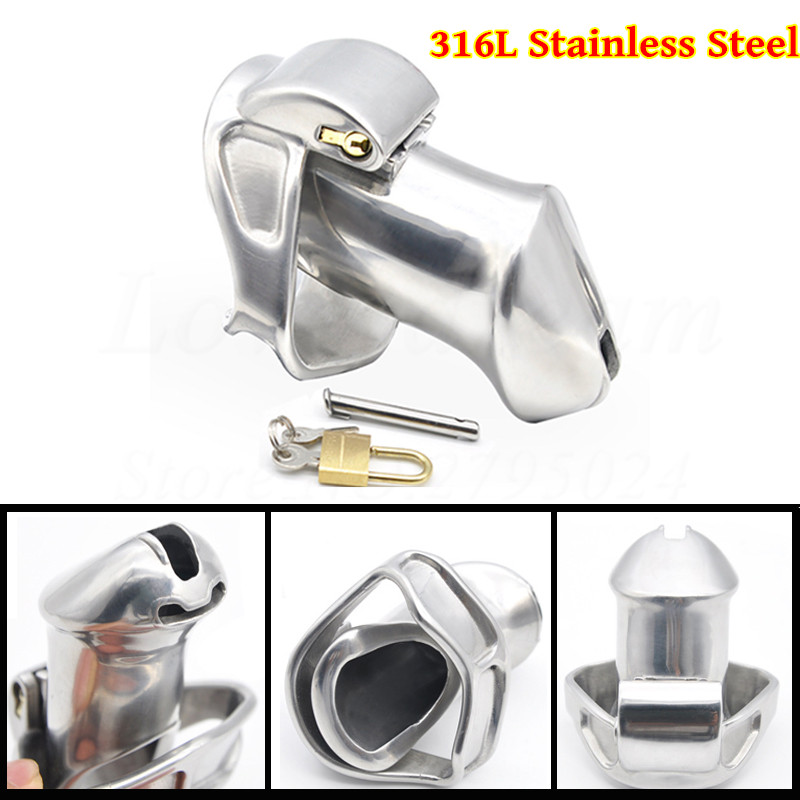 Buy Luxury 316L Stainless Steel Standard/Small male Chastity cage Belt Device Sex Toys Men Penis Cock Ring 2 Magic Locks