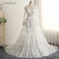 vestidos de novia blancos New Elegant Lace Wedding Bride Dress long Sleeve Corset Back Vintage Mermaid bridal Gowns