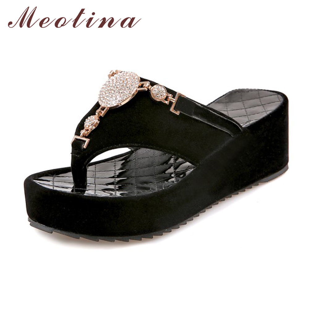 real quality premium selection new release US $20.12 50% OFF|Meotina Flip Flops Shoes Women Platform Sandals  Rhinestone Sandals Ladies Sandals Beach Shoes Slippers White Black Size 42  43-in ...