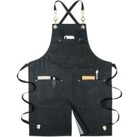 Denim cloth work apron men and women tea shop overalls split fork waist bib apron with pockets print logo
