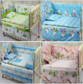 2015 New Time-limited Dobby 5pcs Baby Bedding Set Kitty Character Crib Bedclothes Include Pillow Bumpers Mattress 100*58