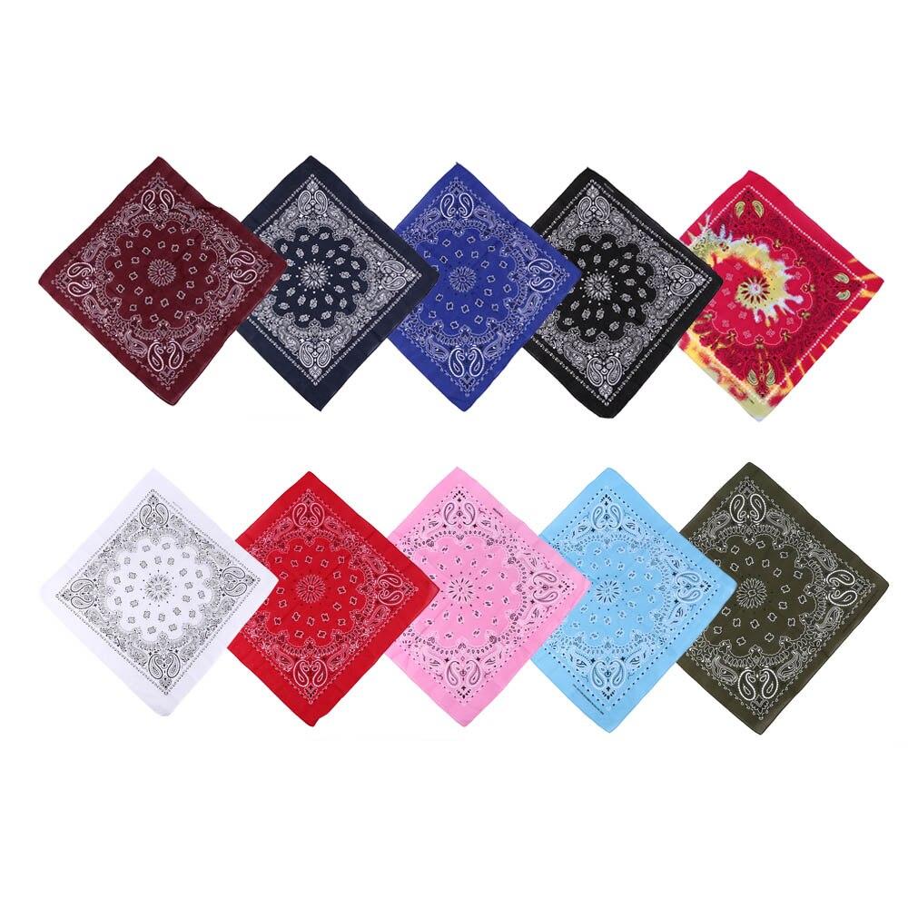 55*55cm Hip Hop Cotton Paisley Bandanas Head Wrap Black Red White Etc 10 Colors Scarves