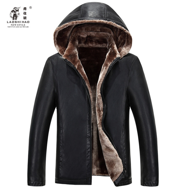 2015 New Winter Middle-aged Men Leather Collar Haining Cashmere Fur Leather With Dad  Mens Leather Jackets And Coats