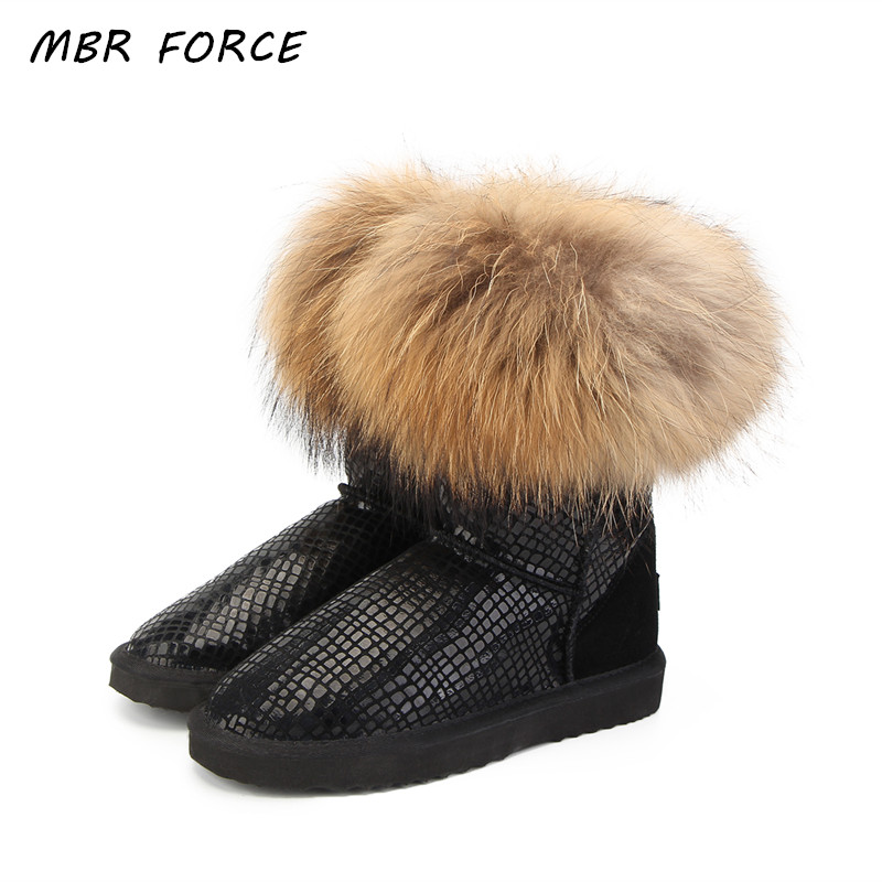 MBR FORCE High Quality Women Natural Real Fox Fur Snow Boots Genuine Leather Fashion Women Boots Warm Female Winter Shoes Ship