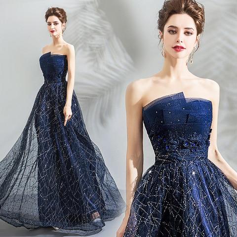Nobre sem Alças Vestido de Baile Personalidade Vestido Noble Estrelado Azul Galáxia Sentimento Escuro 139 Céu