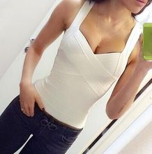 Free Shipping New Sexy Fashion 2016 White Rayon Bandage Tops Bustier Apricot Pink Black Red 5 Colors Available