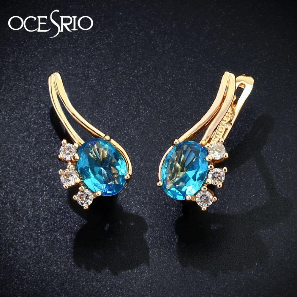 Ocesrio New Romantic Big Blue Round Cz Stone Drop Earrings For Women 585  Rose Gold Earrings