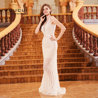 Tulle Off White Deep V Neck Mermaid Dresses Long With Cape Evening Party Gowns Full Pearls Sequined See Though Vestido OL103122