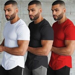 Мужская футболка с короткими рукавами, быстросохнущая дышащая футболка стрейч-Джерси для тренажерных залов