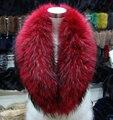 100 СМ большой красный енот воротник женщин пушистый твердые реального воротники меховые шарфы