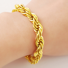 24K Gold Plating Rope Chains Bracelets Yellow Gold Color Bracelet for Women Fashion Noble Wedding Jewelry Gifts цена и фото