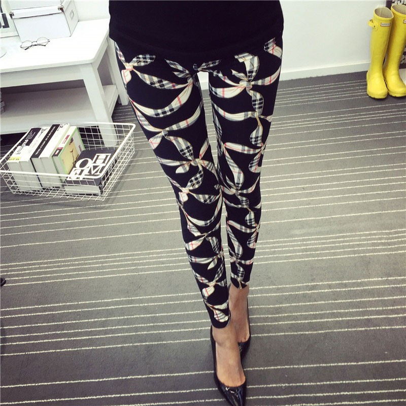 BIVIGAOS Spring Summer Womens Fashion Black Milk Thin Stretch leggings Colored Stars Graffiti Slim Skinny Leggings Pants Female 45