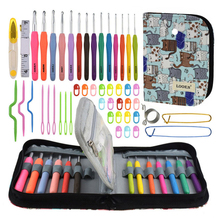 3 Styles Crochet Hooks Set With Bag Soft Rubber Needle Ergonomic Handle Knitting Sewing Supplies Cute