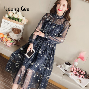 Young Gee Women Spring Autumn Sexy Sheer O-Neck Lace Dress Embroidery Starry Sky Sweet Party Flare Skater With Lining Dresses