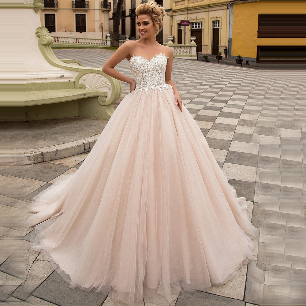 ADLN Elegant Champagne Wedding Dresses Abito Da Sposa Sweetheart Corset Bridal Gown With Appliques Tulle Ball Gown Bride Dress
