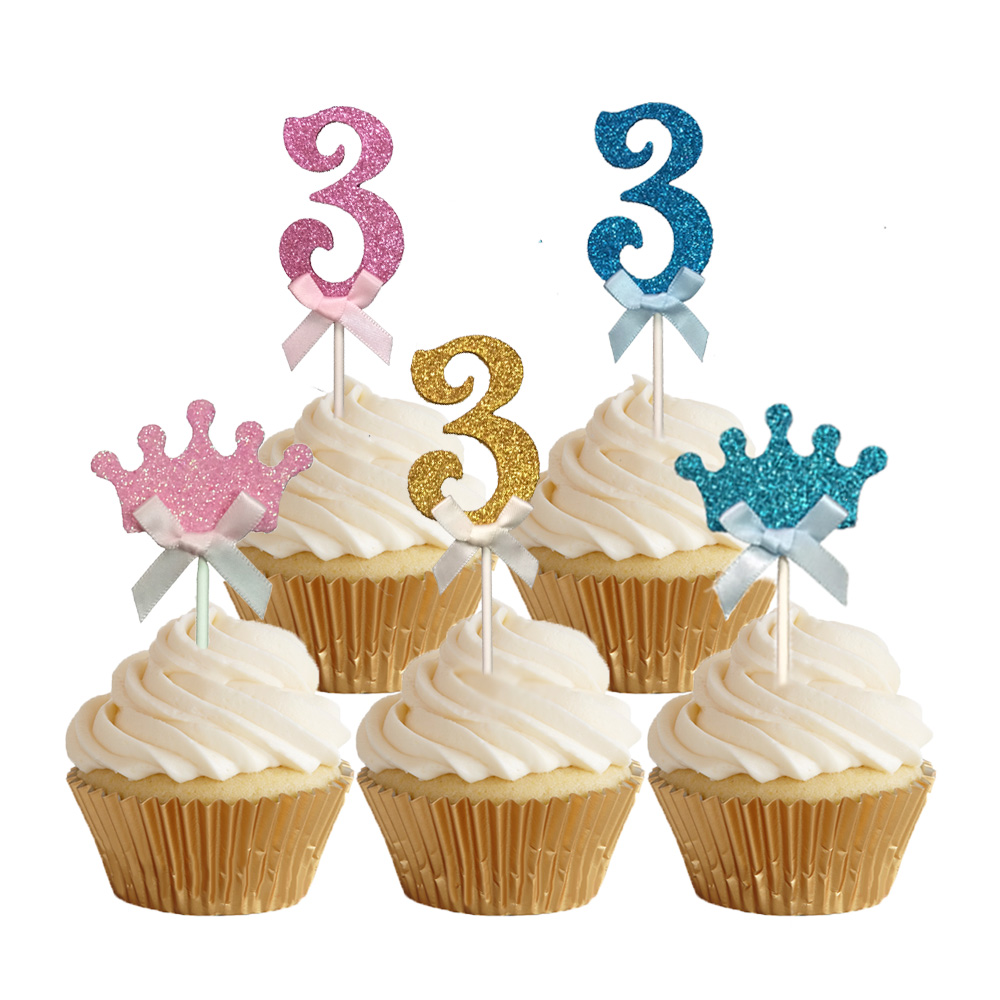 24pcs Glitter Number 3 Cupcake Toppers Baby Three Years