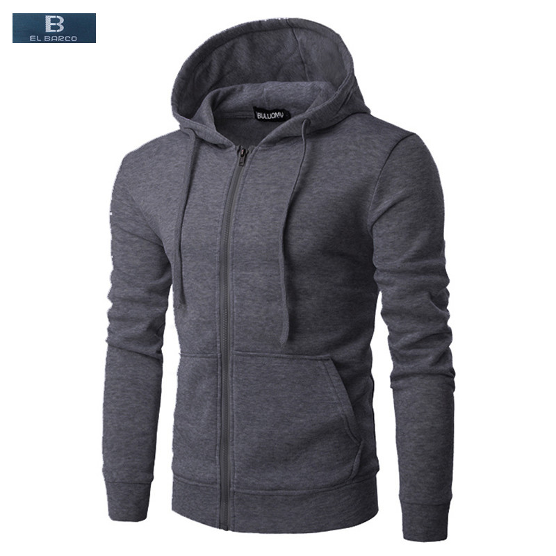 Straightforward [el Barco] Warm Cotton Casual Sweatshirts Men Hoodies Autumn Black Blue Grey Wine Red Zipper Male Cardigan Hooded Tops Size 3xl