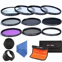 K&F CONCEPT 58mm Camera Lens Filter Kit 10pcs Close up+1+2+4+10 UV CPL FLD ND2 4 8 Filter Set For Canon Nikon Fujifilm Sony DSLR