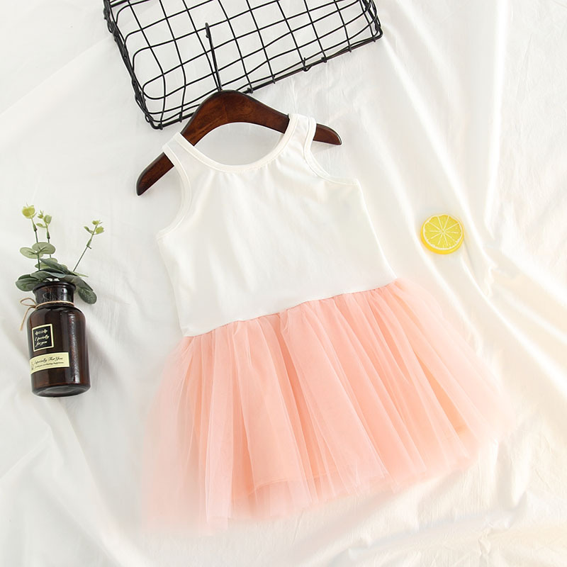 Girl Vest Dress Summer Sleeveless Princess Dresses Children Evening Dresses Pink Lace Party Tutu Dress Baby Girl Clothes in Dresses from Mother Kids