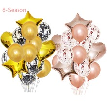 8-Season Rose Gold Foil Balloons Birthday Star Baloon Helium Happy Party decorations kids adult inflatable