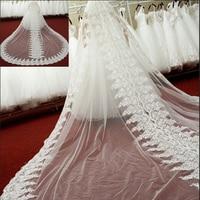 1 T Свадебные вуали 3 метра с расческой кружевные аппликации собора роскошные свадебные аксессуары, фата длиной 4 м