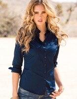 Biały Różowy Niebieski Lato T Shirt Turn Down Collar Elegancki Przypadkowa Kobieta Tees Nowości Hot Sprzedaż F144 Tkaniny Pracy