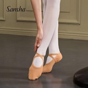 Image 1 - Zapatos de Ballet para adultos Sansha malla elástica de 4 vías 3 zapatillas de Ballet de diseño de suela dividida para niñas y hombres zapatillas de Ballet rosa /zapatos de baile negros NO.357M